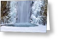 Frozen Multnomah Falls Closeup Greeting Card