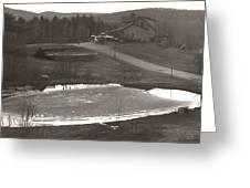 Frozen Pond Camp Ground Panorama Greeting Card