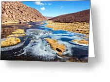 Frozen Stream In Chile Greeting Card