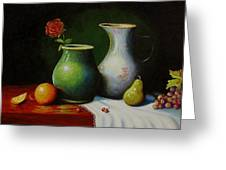 Fruit And Pots. Greeting Card