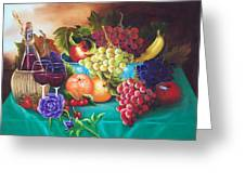 Fruit And Wine On Green Cloth Greeting Card