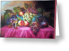 Fruit And Wine On Mauve Cloth Greeting Card