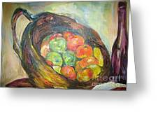 Fruit Basket And Wine Greeting Card