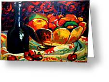 Fruit Bowl And Bottle Greeting Card