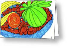 Fruit In A Blue Bowl Greeting Card