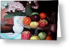 Fruit On Glass Dish II Greeting Card