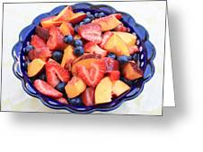 Fruit Salad In Blue Bowl Greeting Card
