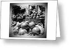 Fruit Seller Blue City Street India Rajasthan Bw 1b Greeting Card