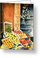 Fruit Shop In San Gimignano Greeting Card