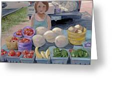 Fruit Stand Girl Greeting Card