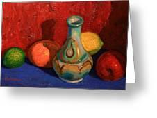 Fruit With Ceramic Vase Greeting Card