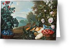 Fruits Flowers And Vegetables In A Landscape Greeting Card