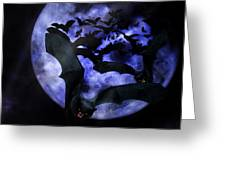 Full Moon Bats Greeting Card