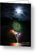 Full Moon Fireworks Greeting Card