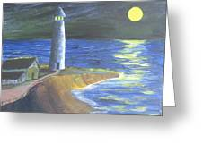 Full Moon Lighthouse Greeting Card