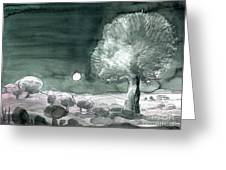 Full Moon Olive Tree  Greeting Card