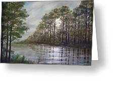 Full Moon On The River Greeting Card
