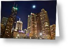 Full Moon Over Chi Town Greeting Card