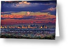 Full Moon Over New York City In October Greeting Card