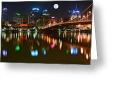 Full Moon Over Pittsburgh Greeting Card
