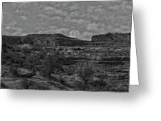 Full Moon Over Red Cliffs Bw Greeting Card