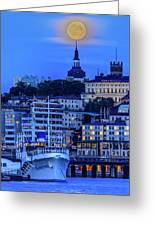 Full Moon Over The Katarina Church And Sodermalm In Stockholm Greeting Card