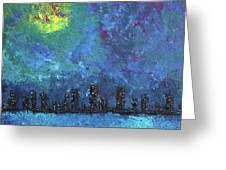 Full Moon Over Watercity Greeting Card