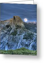 Full Moon Rising Behind Half Dome Greeting Card
