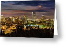 Full Moon Rising Over Downtown Portland Greeting Card