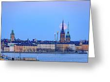 Full Moon Rising Over Gamla Stan Churches In Stockholm Greeting Card