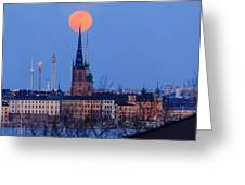 Full Moon Rising Over Gamla Stan In Stockholm Greeting Card