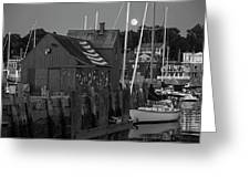 Full Moon Rising Over Motif  Number 1 Rockport Ma Black And White Greeting Card