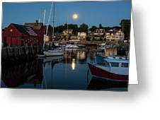 Full Moon Rising Over Motif  Number 1 Rockport Ma Moonrise Greeting Card