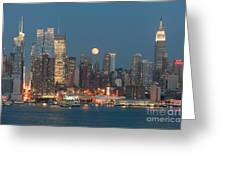 Full Moon Rising Over New York City I Greeting Card