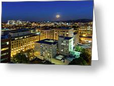 Full Moon Rising Over Portland Downtown Greeting Card