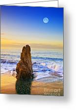 Full Moon Setting Greeting Card