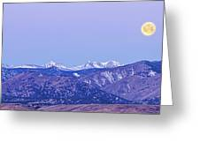 Full Moon Setting Over The Colorado Rocky Mountains Greeting Card