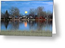 Full Moon Silver Lake Greeting Card