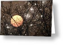 Full Moon Starry Night Greeting Card