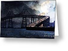 Full Moon Surreal Night At The Bay Area Richmond-san Rafael Bridge - 5d18440 Greeting Card by Wingsdomain Art and Photography