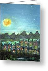 Full Moon Village Greeting Card