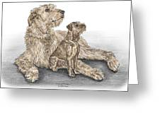 Full Of Promise - Irish Wolfhound Dog Print Color Tinted Greeting Card by Kelli Swan