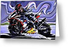 Fullspeed On Two Wheels 9 Greeting Card