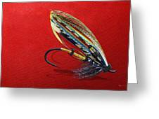 Fully Dressed Salmon Fly On Red Greeting Card