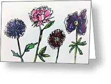 Four Flowers  Greeting Card