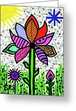 Funky Flower Mod Pop Greeting Card