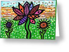 Funky Flowers At Sunset Greeting Card