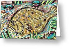 Funky Folk Flounder Greeting Card by Robert Wolverton Jr