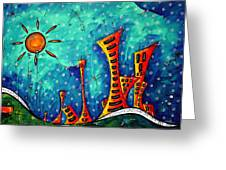Funky Town Original Madart Painting Greeting Card