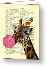 Funny Giraffe, Dictionary Art Greeting Card